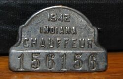 Vintage 1942 Registered Chauffeur Badge - Indiana 156156