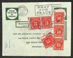 Sun Life Assurance Co Honolulu Hawaii Business Reply Postage Due Stamps 1957