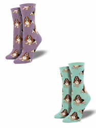 Bundle 2 Items: Basset Hound Mint and Lavender One Size Fits Most Womens Socks