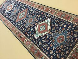 3and039 X 10and039 Navy Blue Rust Oriental Area Rug Runner Hand Knotted Geometric Wool