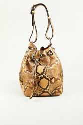 Ralph Lauren Brown Multicolor Snakeskin & Leather Bucket Bag wPouch