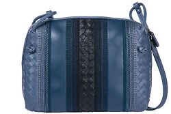 BOTTEGA VENETA WOMEN'S LEATHER CROSS-BODY MESSENGER SHOULDER BAG BLUE 7D9