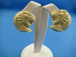 18k Yellow Gold Large Lionand039s Head Earrings With Diamond Eyes 20 Grams Italy