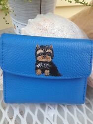 HAND PAINTED ART~YORKIE Yorkshire terrier GIFT buxton blue wallet dog art new