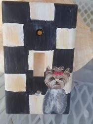 Hand Painted art Yorkshire terrier yorkie painting outlet cover home decor dog