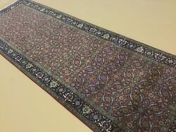 4and039 X 12and039 Red Navy Fine Oriental Rug Geometric Hand Knottedwide Runner Wool