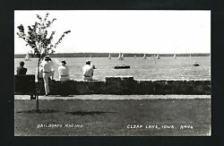 Clear Lake Iowa Ia C1939 Rppc Watching Sail Boat Race From Sea Wall By City Park