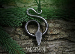 Hand-forged Steel Serpent Pendant - Hammered Snake - Viking/norse/celtic/norway
