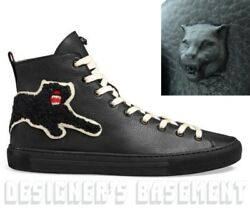 GUCCI 10.5G black leather PANTHER Angry Cat MAJOR high top Sneakers NIB Ath $695