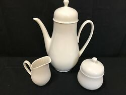 Hutschenreuther Olivia White 1814 Coffee Pot 4 Cup Creamer And Sugar Bowl