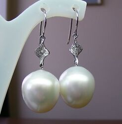 15.8mm South Sea Pearls +diamonds +18ct Solid W Gold Earrings +cert Available