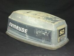 Evinrude 50 Hp 2 Cyl Outboard Motor Cover Cowling Top W/ Damage Marine Boat