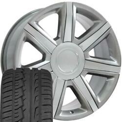 Oew Fits 22x9 Wheel/tire Chevy Gm Escalade Hyp Silver Rims Chrome Inserts