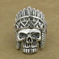 Indian Chief Skull Ring 925 Sterling Silver Mens Biker Punk Ring 9w020a