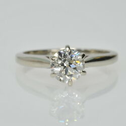 14k White Gold 3/4 Ct Old European Cut Diamond Solitaire Engagement Ring