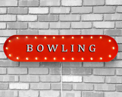 39 Bowling Lanes Alley Lucky Strike Vintage Rustic Metal Marquee Light Up Sign
