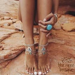 Gypsy Goddess BoHo Silver and Turquoise Colored Anklet Barefoot Sandal Jewelry $5.77