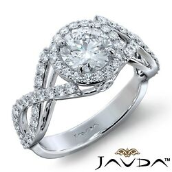 2ctw Criss Cross Shank Halo Pave Round Diamond Engagement Ring GIA I-VS1 W Gold