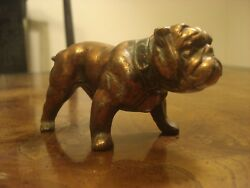Antique Spelter Formidable  Bulldog Statue with Large Studded Leather Collar