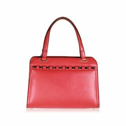 Authentic GUCCI Rare Vintage 1960s Red Leather Bag Handbag with Bamboo Detail