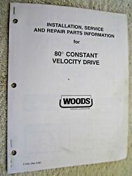 1992 Woods Rotary Mower 80anddeg Constant Velocity Drive Shaft Parts And Service Manual