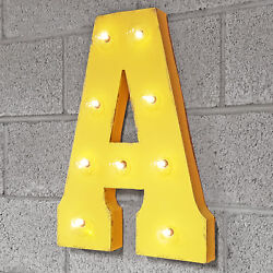 Letter A - Solar Powered Led Sign Rustic Vintage Metal Alphabet Marquee Light Up