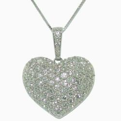 1.98 Tcw Round Cut Diamonds Heart Pendant Necklace In 18k White Gold 18 Long