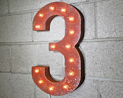21 Number 3 Three Battery Operated Led Rustic Metal Marquee Light Up Sign