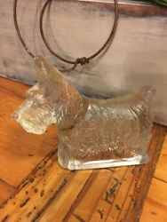 Vintage Clear Glass Scottie DogScottish Terrier Candy Container