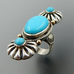 Southwestern Signed Sterling Silver 14k Gold Turquoise Complex Elongated Ring, 9