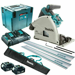 Makita Dsp600zj 36v 165mm Plunge Saw + 2 X 5.0ah Batteries Charger And Accessories