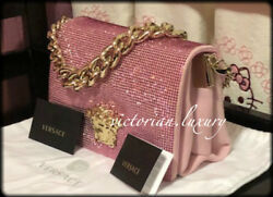 Brand New! VERSACE Suede Crystal PALAZZO Evening PINK Bag  Clutch
