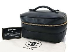 Authentic CHANEL Black Leather Cosmetics Pouch Vanity Case Travel Bag #28606