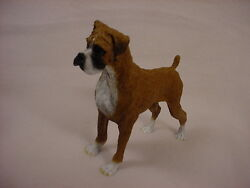 BOXER Dog HAND PAINTED FIGURINE Resin Statue UNCROPPED Brown Puppy COLLECTIBLE