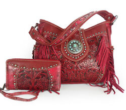 Trinity Ranch Tooled Leather Hobo w Side Pockets Fringe + Wristlet Wallet- Red
