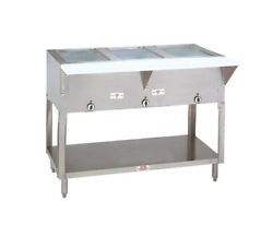 Advance Tabco 77.75 Electric 5 Sealed Hot Food Wells Table W/ Drains 240v