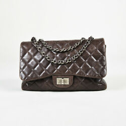 Chanel Brown Quilted Lambskin Leather Silver Tone