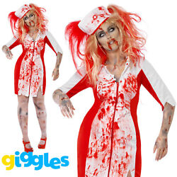 Plus Size Zombie Nurse Doctor Costume Womens Ladies Halloween Fancy Dress Outfit