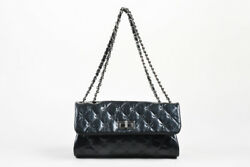 Chanel Black SHW Quilted Glazed Crackled Leather Mademoiselle Chain Strap Bag