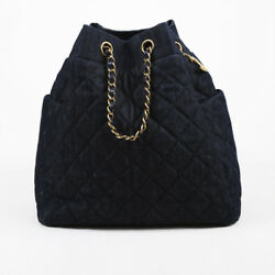 Chanel Blue Washed Denim & Leather Quilted Bucket Bag