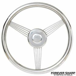 14 Stainless Steel Banjo Style Boat Steering Wheel W/ 3/4 Keyway Adapter Boss