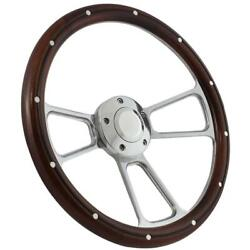Wood Steering Wheel And Polished Billet Adapter For 1965 To 1970 Mercury Comet Usa
