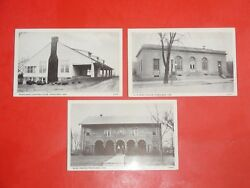 Hs624 Vntg Lot 3 Postcards Country Club Post Office Elks Temple Portland Indiana