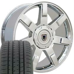 Chrome 5309 22 Wheels And Tires Fit Cadillac Escalade 7 Spoke