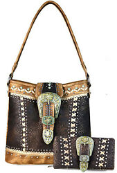 New! Montana West Concealed Carry Patina Buckle Hobo + Wallet - Coffee