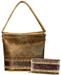 Trinity Ranch Concealed Carry Hobo w Tooled Leather Accents + Wallet-Coffee