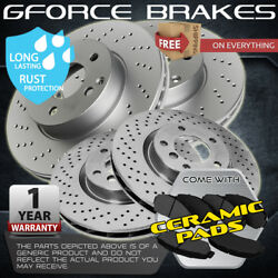 Front Drill Rotors Pads And Rear Drums Shoes For 2005-08 Chevrolet Silverado 1500