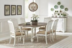 Two Tone Planked Top White Rustic Country Farmhouse Dining Table Furniture Set