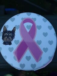 handpainted Yorkshire terrier art yorkie breast cancer awareness button 1