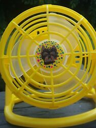 HAND PAINTED ART~ yorkie Yorkshire terrier GIFT dog art mini desk fan ooak yello